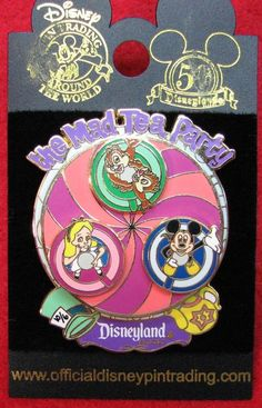 """""""The Mad Tea Party"""" Disneyland Spinner Pin Alice in Wonderland, Mickey, & Chip"""