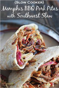 {Slow Cooker} Memphis BBQ Pork Pitas with Southwest Slaw .used some leftover Boston butt with this fantastic slaw recipe and put them in tortilla shells for a quick leftover dinner! Crock Pot Slow Cooker, Slow Cooker Recipes, Crockpot Recipes, Cooking Recipes, Healthy Recipes, Yummy Recipes, Slow Cooking, Crepes, Memphis Bbq