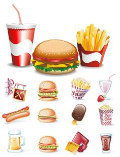 Beautifully Fast food icons - vector material