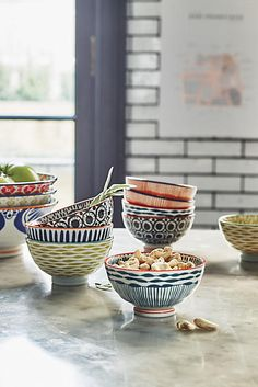 Explore Anthropologie's unique tabletop featuring kitchen & dining collections, dinner collections, serveware, kitchen accessories and more. Bohemian Decoration, Decoration Table, Living Colors, Dinner Bowls, Snack Bowls, Do It Yourself Furniture, Home And Deco, Inspired Homes, Serveware