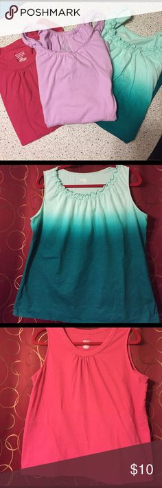 Bundle of 3 women's Tank tops- ombré/ruffles XL Green ombré is Basic editions. Pink and light purple are Merona. They each have detailing around the neck- pleats or ruffles. Loose fitting. Very good condition. All are XL and all are included. Merona Tops Tank Tops