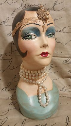"""Hand painted, Brunette Mannequin Head, Vintage Style, """"Polly"""""""
