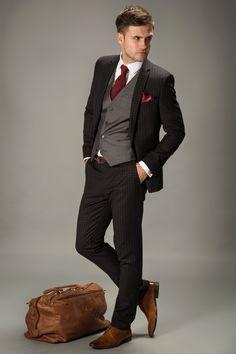 dark grey suit brown shoes wedding | Tuxedo Design