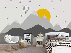 graue Geometrie Berge Tapete abnehmbare Stoff aufeinanderfolgende Hügel Wand Papier Kinder Schlafzimmer Wand Wand bildende und Stick grau Spitze Wand Dekor This is gray themed mountains pattern,which consist of light gray and gray color and with a light b Nursery Room, Bedroom Wall, Kids Bedroom, Safari Nursery, Bedroom Black, Girl Nursery, Nursery Wallpaper, Kids Wallpaper, Flower Wallpaper