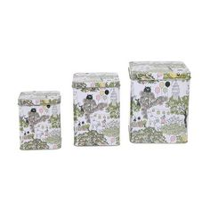 Moomin Garden Set of 3 Tin Boxes Lid with Hinges Martinex for sale Box With Lid, Moomin, Tin Boxes, Floral Tie, Decorative Boxes, Cheer, Accessories, Beautiful, Home Decor