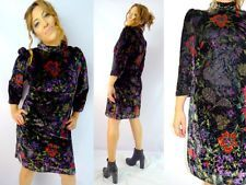 VTG Handmade 3/4 Sleeve Velvet Floral Dress Boho Gypsy Unique Above Knee sz L