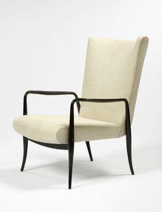 Juliana Mafatti; Ebonized Wood Lounge Chair for Flama, 1958.