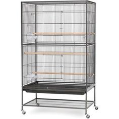 Metal Bird Cage Prevue Pet Products Wrought Flight with Stand Black Play Feed  #PrevuePetProducts