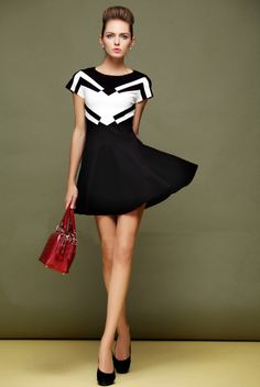 Morpheus Boutique  - Black White Color Block Cap Sleeve Hem Dress, CA$102.55 (http://www.morpheusboutique.com/black-white-color-block-cap-sleeve-hem-dress/)