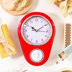 Reloj de cocina con temporizador de color rojo #clock #timer #red #mrwonderfulshop