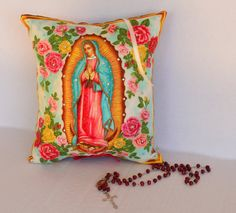 Virgen de Guadalupe Floral Pillow   Mother of by OliviabyDesign, $24.00