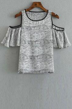 Striped Round Collar Cold Shoulder T-Shirt