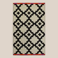 Pink-Orange Bordered Flat-Woven Indoor-Outdoor Rugs | World Market