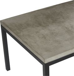 Start with a great base.  Top it off with an eye-catching top.  Voila—the perfect table.  Hot-rolled steel frame supports with clean simple lines, hand-welded and ground at each corner to create a raw, torched millscale finish.  Gorgeous warm grey concrete top mixes up a global compound sourced in Vietnam—marble, stone and granite from the mountainous Dalat region and grassy fibers from the Mekong Delta for added strength.