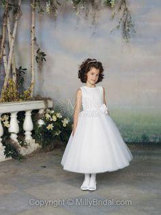 Scoop A-line Tea Length Hand Made Flower White Tulle Flower Girl Dress at Millybridal.com