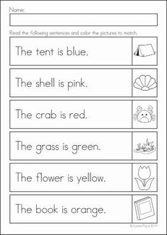 Kindergarten SUMMER Review Math & Literacy Worksheets & Activities. 104 pages. A page from the unit: read and color by marjorie