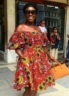 Off shoulders African chitenge dress. Kanyget fashions +