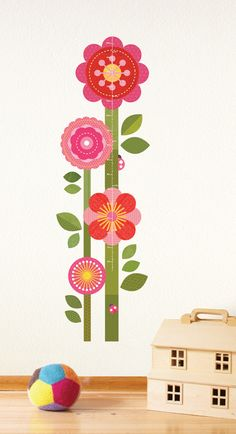 Flower Growth Chart Wall Decal - easy, bright & functional decor!