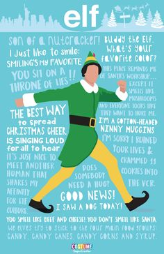 Four Classic Christmas Movie Quotable Posters - Elf Christmas Movie Quotes, Classic Christmas Movies, Holiday Movie, Christmas Love, Christmas Humor, Christmas Movie Characters, Elf Movie Quotes, Buddy The Elf Quotes, Christmas Posters