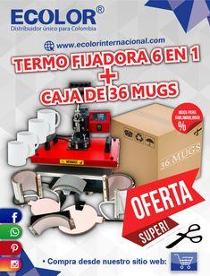 ECOLOR  •Termo Fijadora 6 en 1 + Caja de 36 Mugs Consíguelos en: www.ecolorinternacional.com Nerf, Planks, Crates