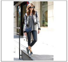 Jacket, BCBG Maxazria Leather Pants, Vince Sneakers, Miu Miu Handnbag, Chanel Tshirt, T by Alexander Wang