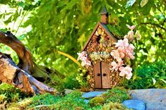 This STONE FAIRY HOUSE / CHURCH with STAINED GLASS WINDOW will open wide its WORKING DOORS to all of the fairies and Pixies in your neighborhood. Perfect centerpiece of any Fairy Garden. Made of real stone, wood, moss, stained glass and pixie sprinkles. It is suitable for indoor #mossgardenindoor