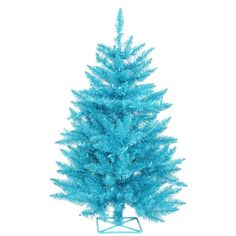 Vickerman Sky PVC 2-foot Artificial Christmas Tree with 35 Teal Lights