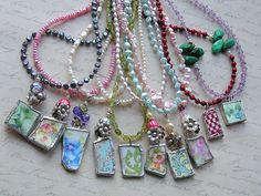 ooak vintage china shard pends & fwpearls
