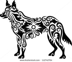 Dog tattoo vector 2. Dog with floral ornament decoration. Use for any design you want. Easy to change color. - stock vector