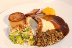 Traditional appetizing roast turkey with tasty fondant roast potato, real meat gravy, seasonal vegetables and all the trimmings.