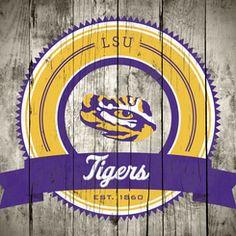 Order Photo: LSU Tigers Logo on Wood Canvas
