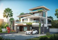 A great ultra modern bungalow design gives a complete new style statement to your dream project. Bungalow Haus Design, Bungalow Interiors, Bungalow Designs, Modern Bungalow Exterior, Modern Farmhouse Exterior, House Front Design, Modern House Design, Bungalows, Modern Buildings