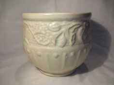 Vintage 1930's McCoy Pottery Matte White Morning Glory Jardiniere
