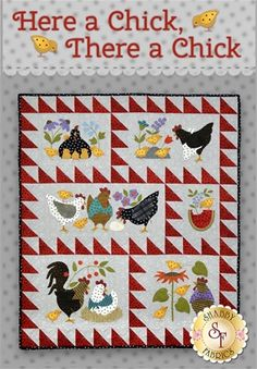 """Here a chick, there a chick, everywhere a chick, chick! This is an absolutely darling 36"""" x 42"""" flannel quilt by Bonnie Sullivan with adorable chicks in each block. This project features appliqué, piecing and simple hand embroidery. All fabrics are flannel and will be exactly as shown.Your program will include:  Pre-fused and Pre-Cut Applique pieces! No need to trace, cut out, or turn the edges! All Patterns All Fabrics Buttons  Backing is not included but can be added separately below..."""