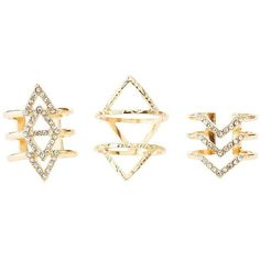 Charlotte Russe Chevron & Triangle Rings - 3 Pack ($6) ❤ liked on Polyvore featuring jewelry, rings, accessories, anel, gold, gold triangle ring, gold jewelry, gold jewellery, gold band ring and yellow gold stackable rings
