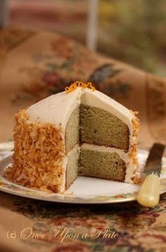 Once Upon a Plate The Recipes: Petite & Moist Banana Cake with Creamy Orange Frosting and Toasted Coconut
