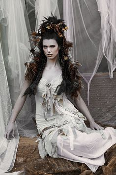 pale creams, whites and earth tones Vintage tattered slip dress Boho fairy gypsy