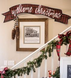 How cute is this free plaid banner printable for Christmas!