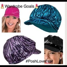 Fabulous Sequence hats.  HP 12-6-16 I have 2 hats left. Two  toned turquoise, and two toned purple. They are in good shape. No rips. The linings are not torn. Slight make up stains across the inner band. $6 each. Somethings special Accessories Hats