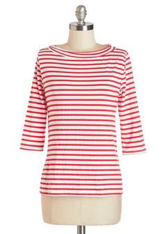 Vintage Retro Striped 1950s Shirt Top - Lines Around the Block Top in Red
