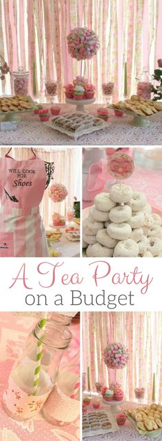My Cup Runneth Over - A Tea Party on a Budget by Michelle's Party Plan-It. Tea Party Ideas on a budget. Lots of easy ideas perfect for any tea party celebration. Inspiration by Michelle's Party Plan-It. Girls Tea Party, Tea Party Theme, Tea Party Birthday, Tea Party Foods, Princess Tea Party Food, Tea Party For Kids, 5th Birthday, Tea Party Desserts, Tea Party Crafts
