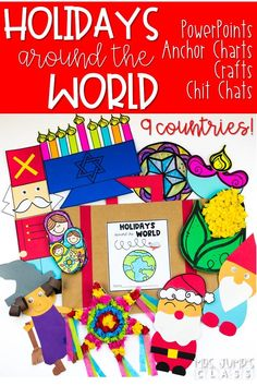 Have fun teaching Holidays Around the World! Travel around the world and see how other countries celebrate the holidays. PowerPoints with real images from the country, anchor chart pieces, chit chat messages, and crafts! #holidaysaroundtheworld