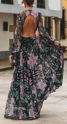 Fleepmart Elegant Floral Print Boho Dress Women Sexy O Neck Long Sleeve Backless A-line Long Spring Dress 2020 Robe Femme Plus Size Dress Robes, Maxi Dress With Sleeves, Sleeve Dresses, Maxi Dresses, Dresses Art, Floral Dresses, Look Fashion, Fashion Outfits, Fashion Tips
