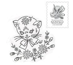 Vintage Kitty Embroidery Free Pattern by EarlyBirdSpecial, via Flickr