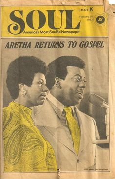 Saw someone post this vintage picture today. The King of Gospel Music with The Queen of Soul. James Cleveland and Aretha Franklin. Music Icon, Soul Music, Jet Magazine, Black Magazine, James Cleveland, Im Thinking About You, Music Images, Film Images, Aretha Franklin