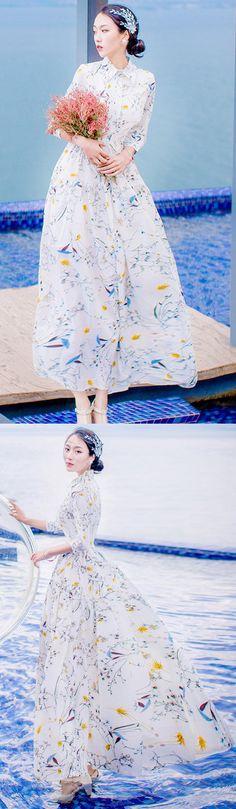 women-white-prints-summer-chiffon-maxi-dress-lapel-collar-bracelet-sleeved-bridesmaid-dress-big-hem-holiday-dress
