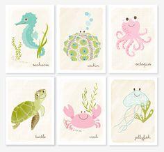 pastel prints to hang up in nursery or kids room Love them! Sea Nursery, Mermaid Nursery, Mermaid Room, Nautical Nursery, Animal Nursery, Woodland Nursery, Nursery Art, Girl Nursery, Baby Art