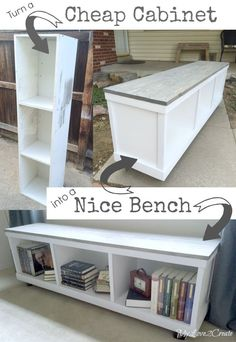My Love 2 Create transformed a regular old laminate cabinet into a useful storage bench. I am so going to do this with that cabinet I have in storage.