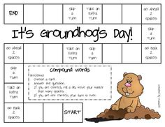 FREE Groundhog Day Game (compound words): 1st