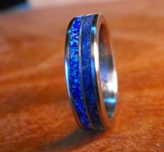 Titanium Wedding Ring Blue Wood and Stone by RobandLean on Etsy